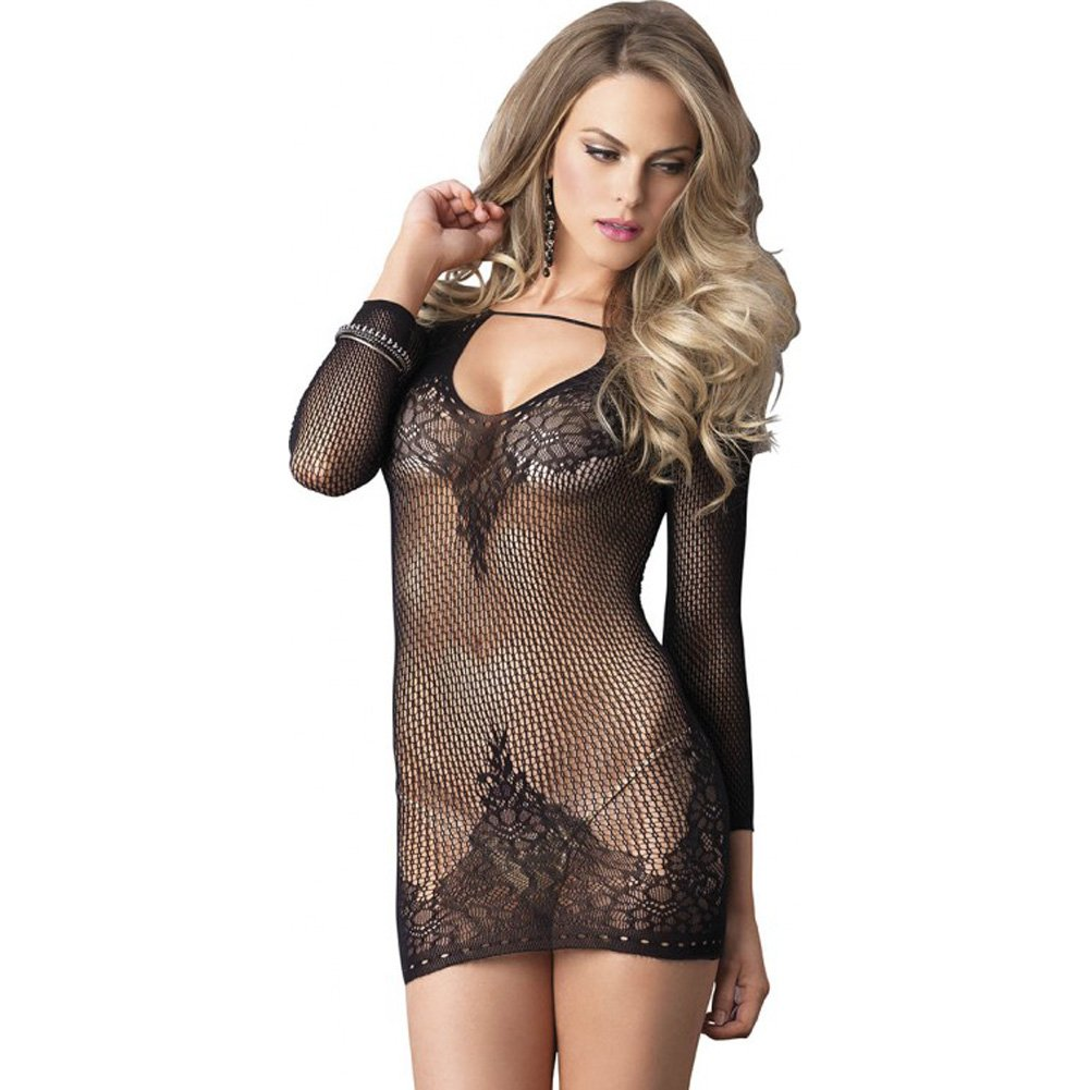 Leg Avenue Long Sleeve Ring Net and Floral Lace Mini Dress One Size Black - View #3