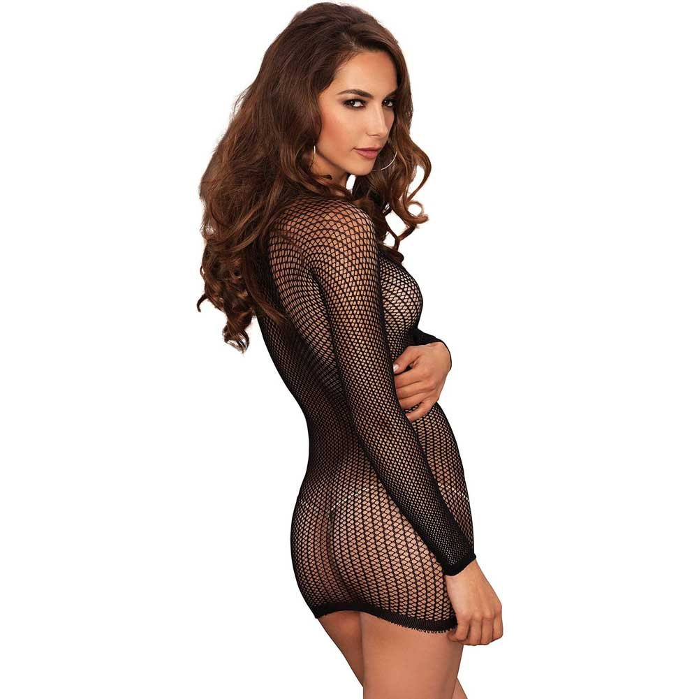Leg Avenue Long Sleeve Lace Up Fishnet Mini Dress One Size Black - View #2