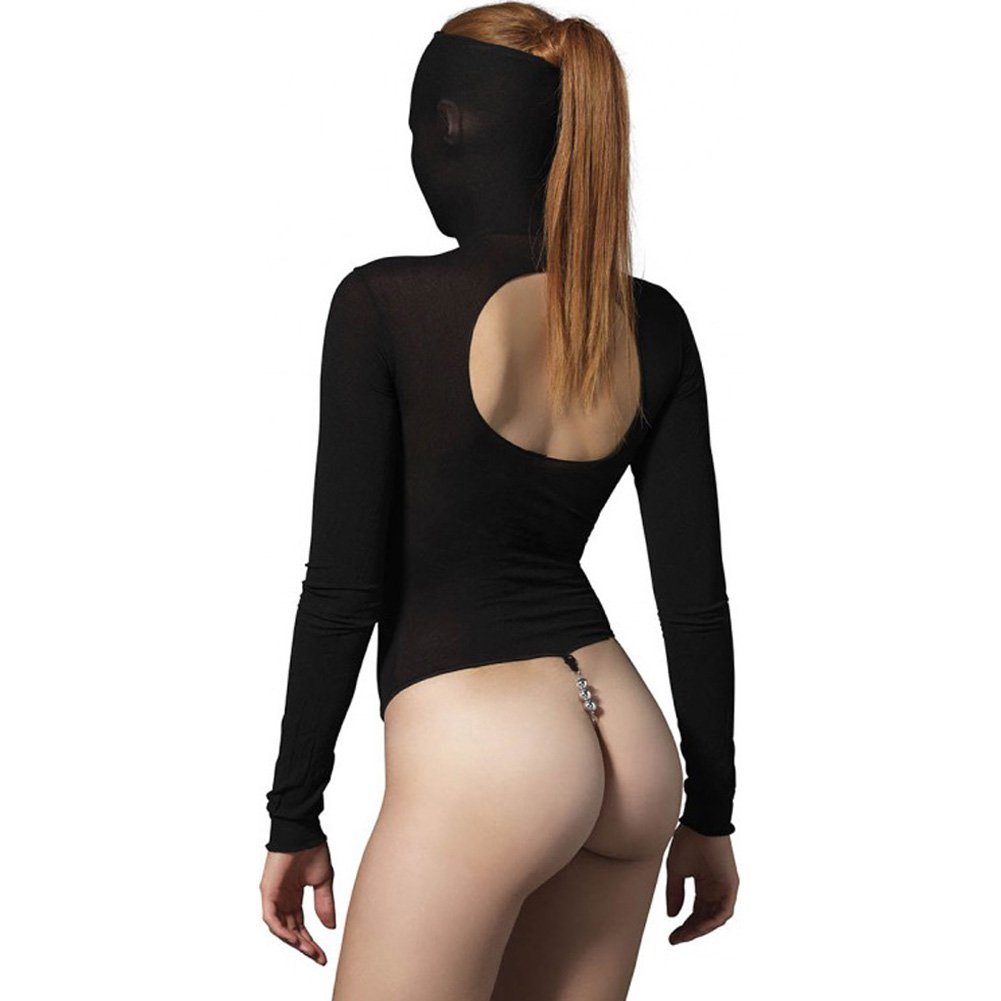 Leg Avenue Kink Collection Opaque Masked Teddy with Stimulating Beaded G-String One Size Black - View #2