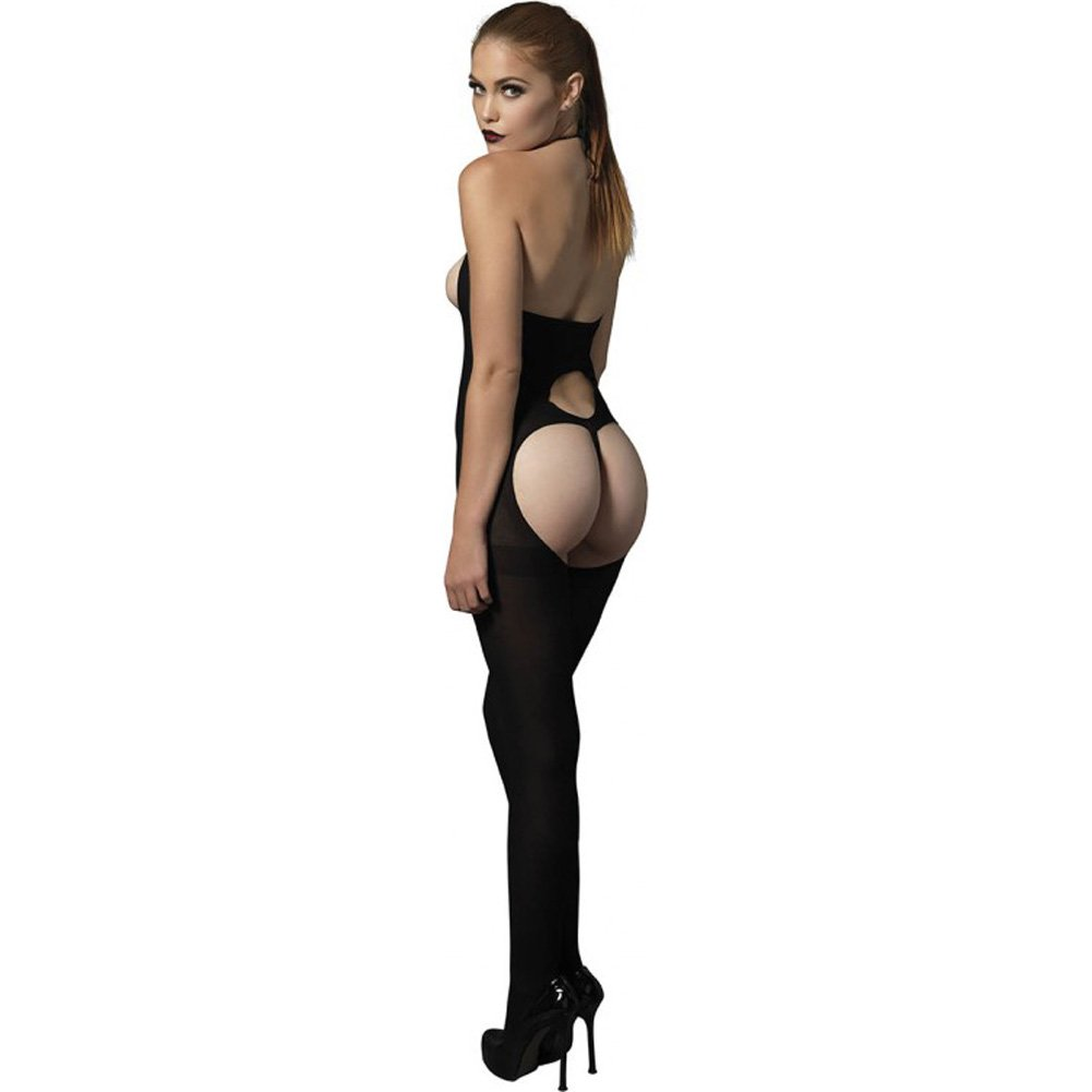 Leg Avenue Kink Collection Cupless Bodystocking with Petal Parting G-String One Size Black - View #2