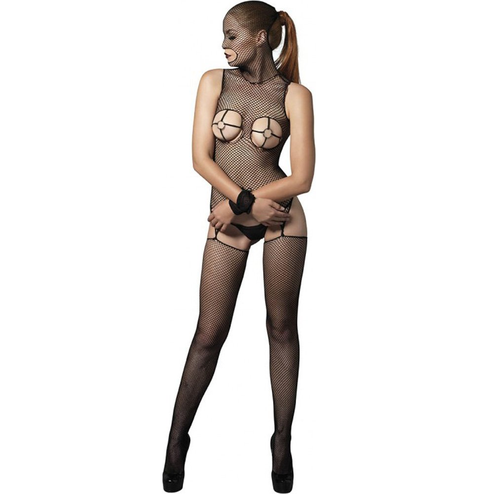 Kink Collection Fishnet Masked Bodystocking with O-Ring Cups and Restraints One Size Black - View #1