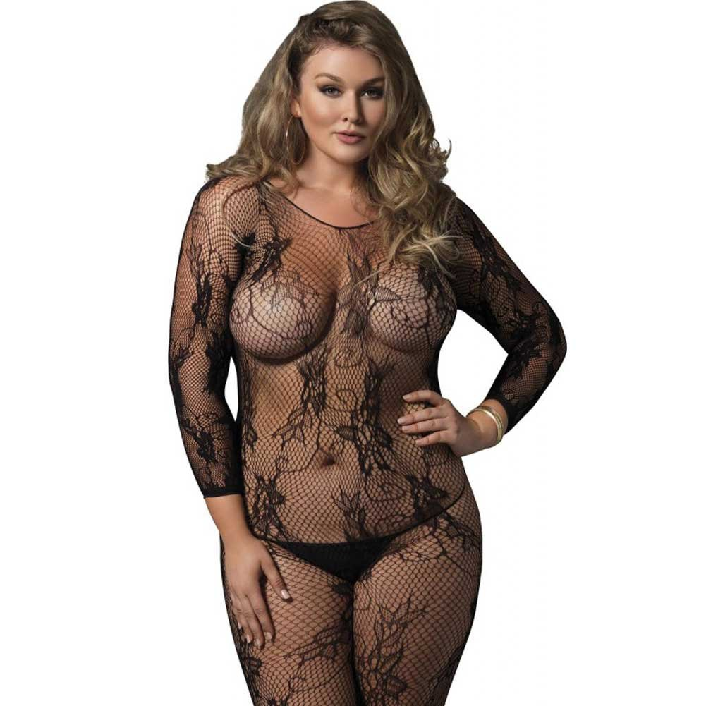 Leg Avenue Seamless Floral Lace Fishnet Long Sleeve Bodystocking Queen Size Black - View #1