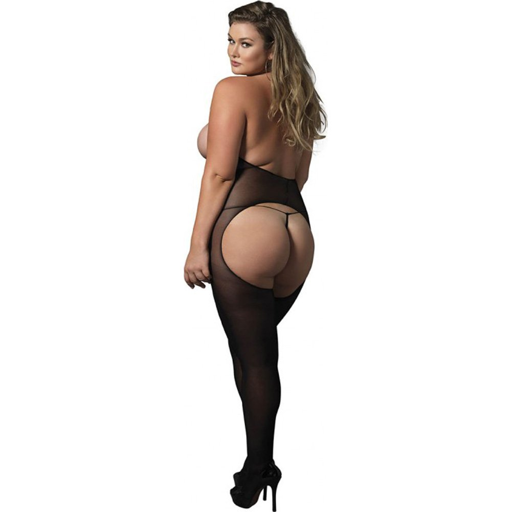 Leg Avenue Halter Opaque Crotchless Open Cup Bodystocking Queen Size Black - View #2