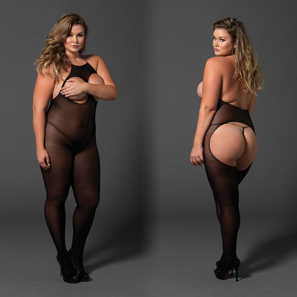 Leg Avenue Halter Opaque Crotchless Open Cup Bodystocking Queen Size Black - View #4