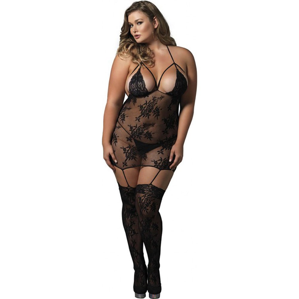 Leg Avenue Floral Lace Cage Strap Suspender Bodystocking Queen Size Black - View #1