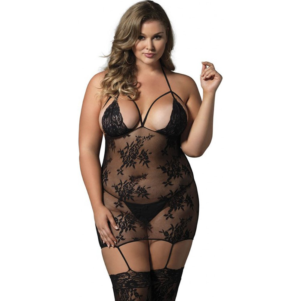 Leg Avenue Floral Lace Cage Strap Suspender Bodystocking Queen Size Black - View #3