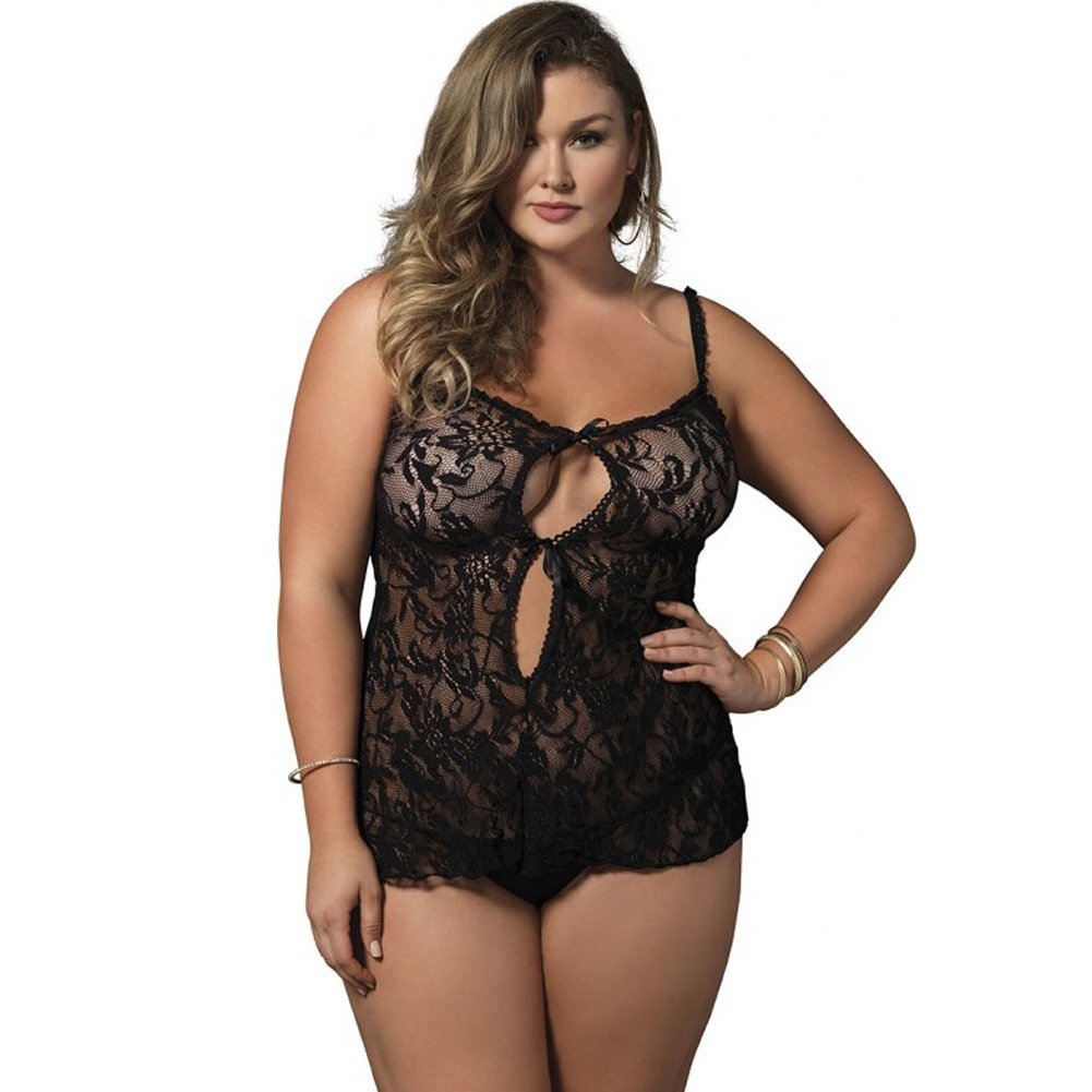 Leg Avenue Floral Stretch Lace Keyhole Chemise Queen Size Black - View #1