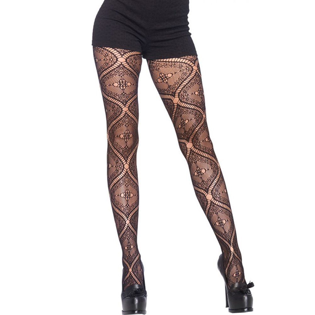 Leg Avenue Nouveau Vine Lace Pantyhose One Size Black - View #1