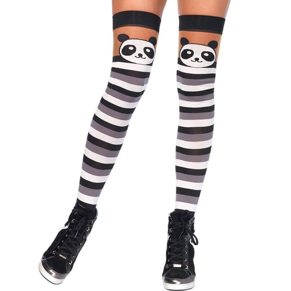 Leg Avenue Party Panda Striped Thigh Highs One Size Black/White - View #1