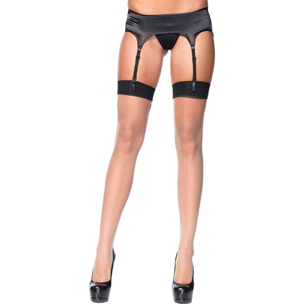 Leg Avenue Sheer Baroque Cuban Heel Backseam Thigh High Stockings One Size Nude/Black - View #2