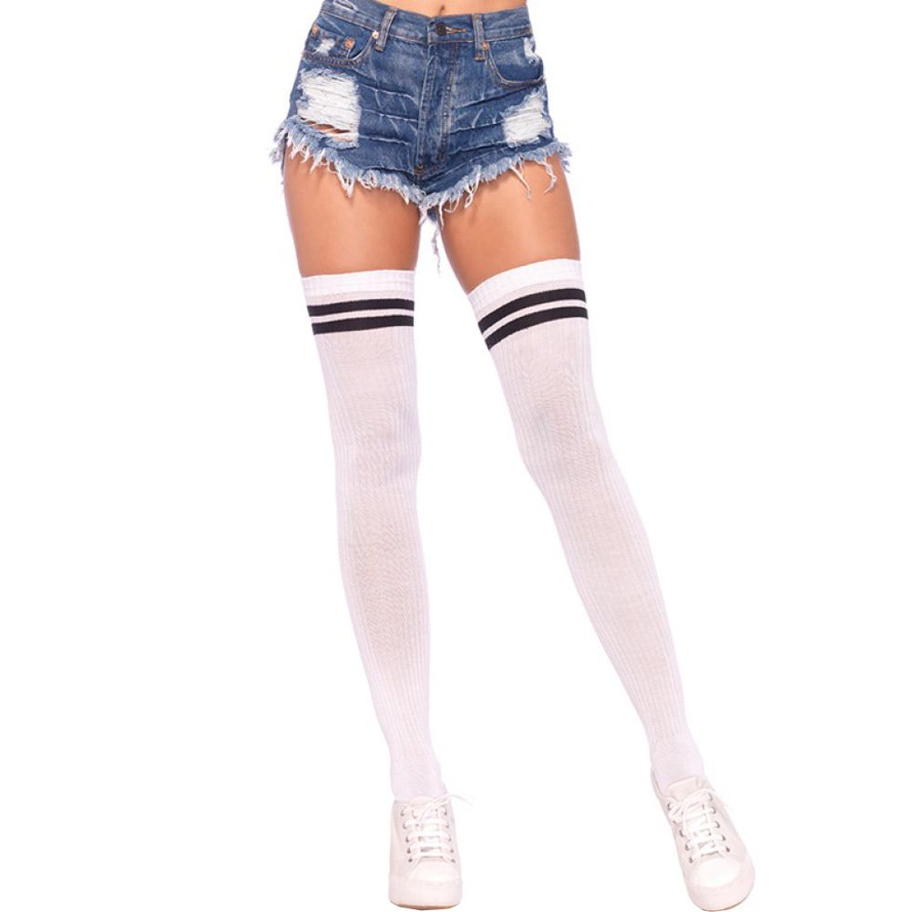Leg Avenue Ribbed Athletic Thigh Highs One Size White/Black - View #1