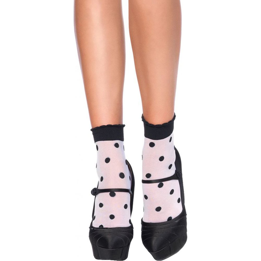 Leg Avenue Spots and Dots Anklet Socks One Size White/Black - View #1