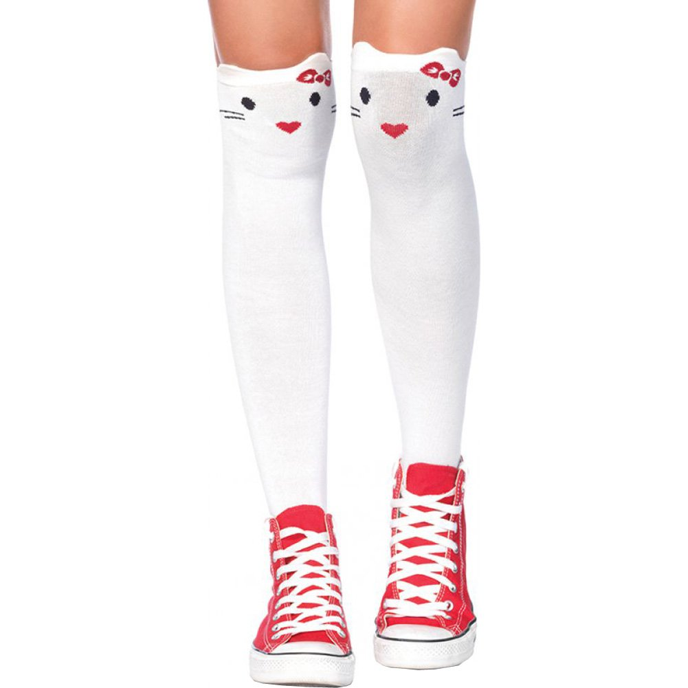 Leg Avenue Goodbye Kitty Knee High Socks One Size White - View #1
