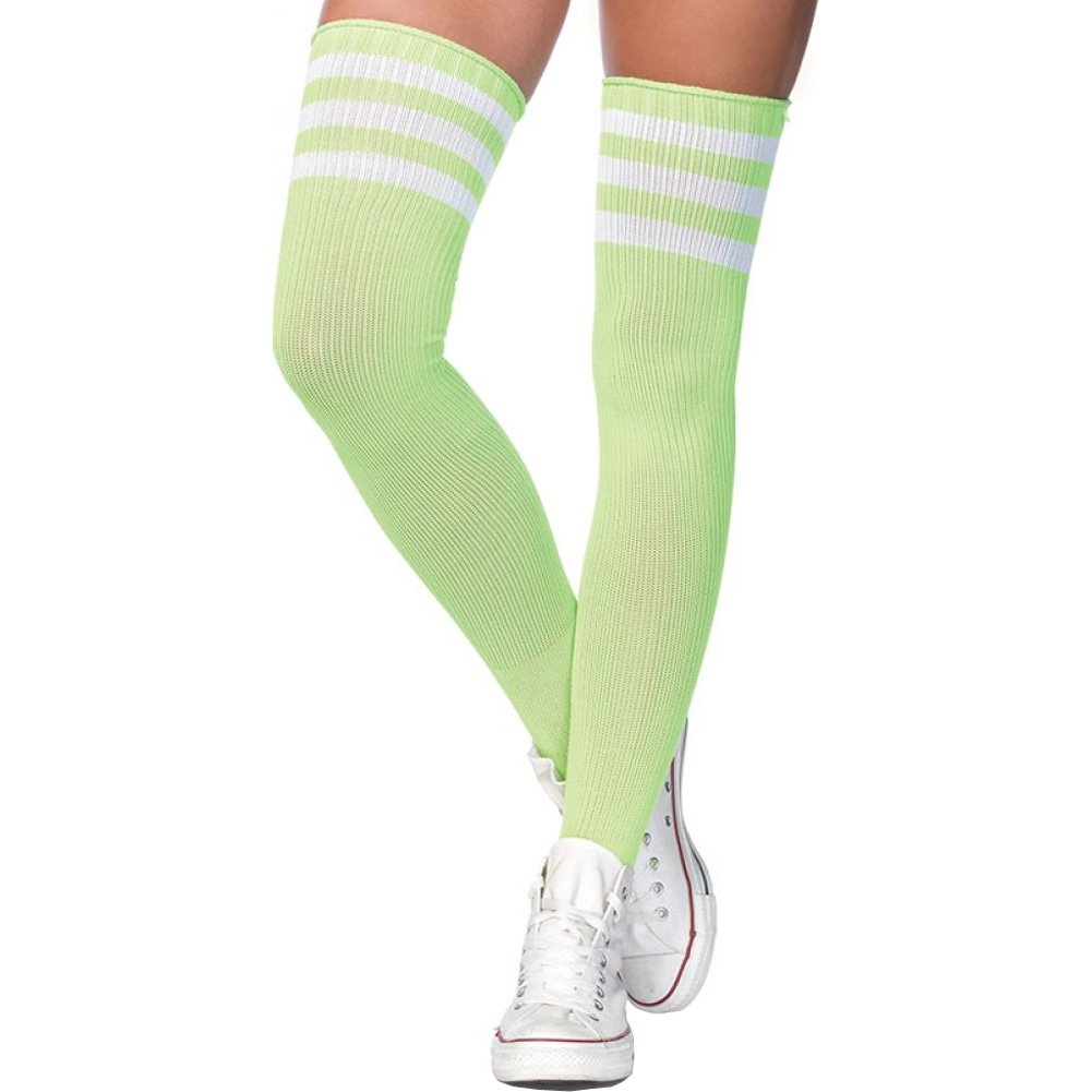 Leg Avenue Athlete Thigh High Socks with 3 Stripe Top One Size Neon Green - View #1