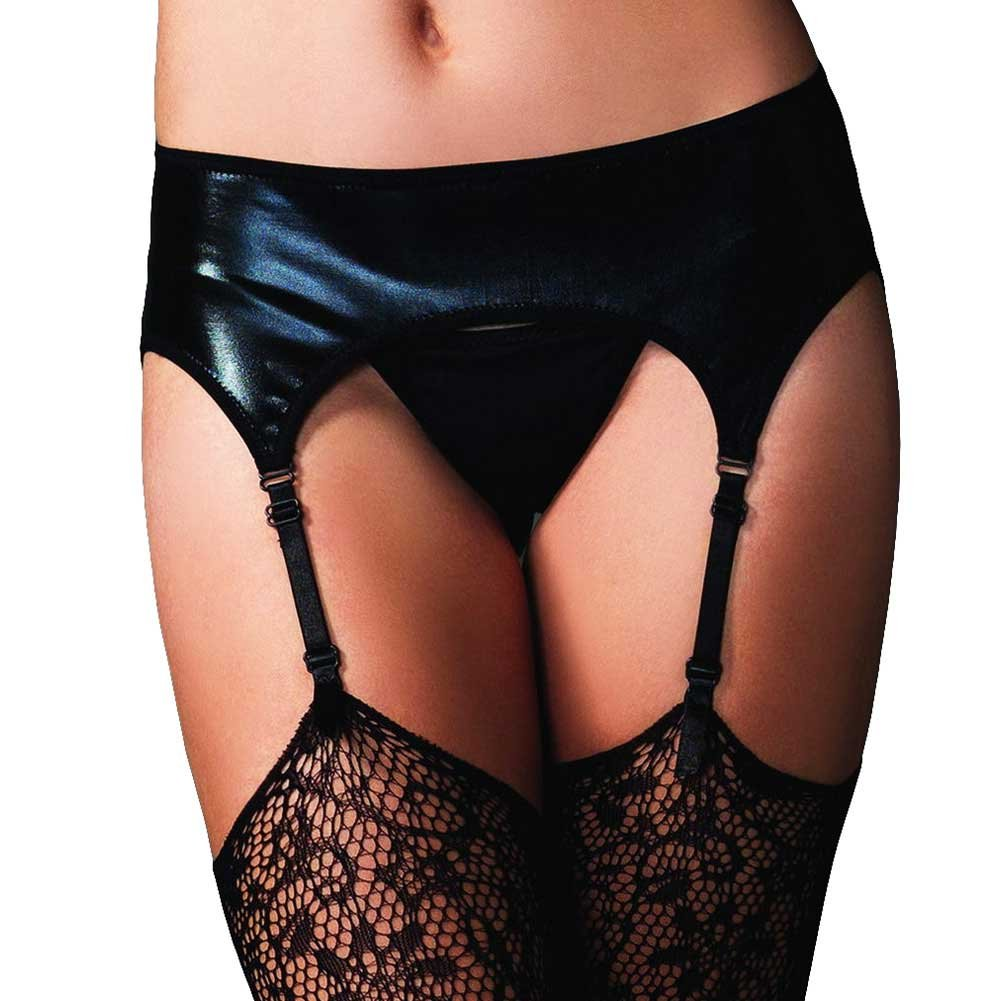 Leg Avenue Wet Look Garter Belt One Size Black - View #1