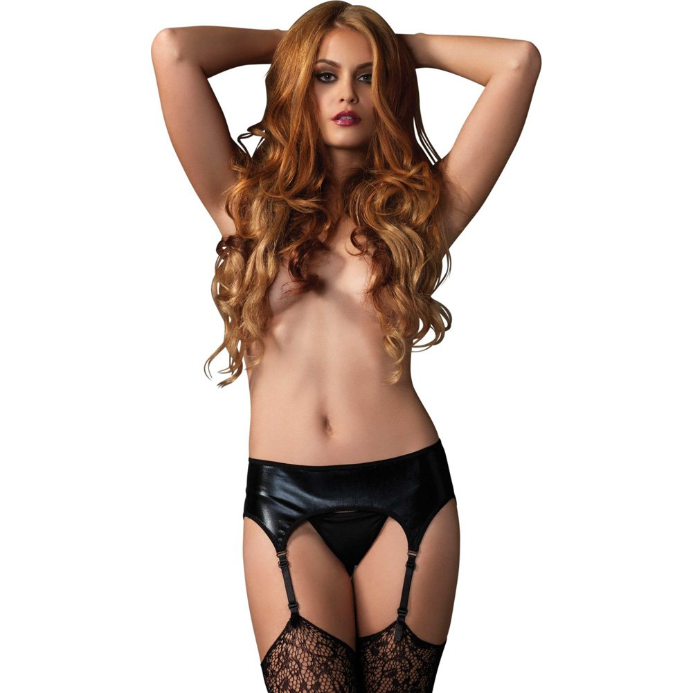 Leg Avenue Wet Look Garter Belt One Size Black - View #3