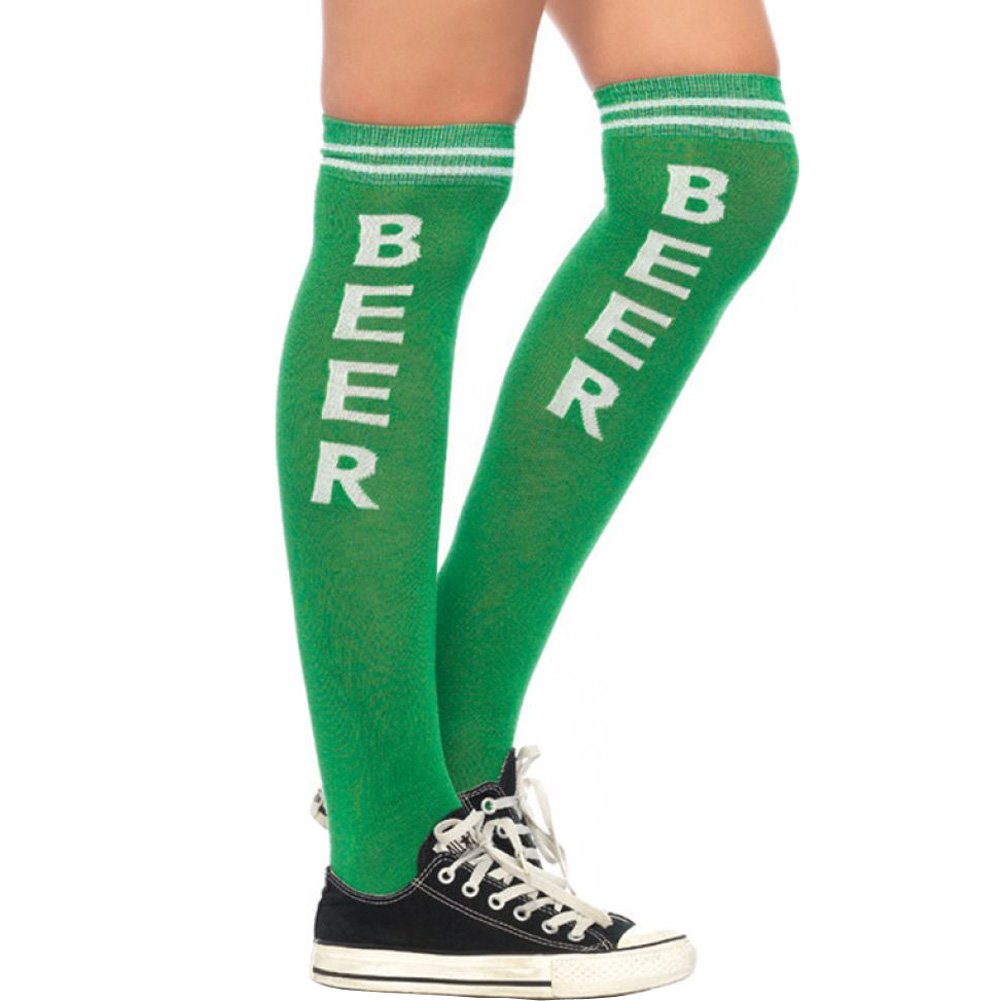 Leg Avenue Beer Time Athletic Socks One Size Green/White - View #1