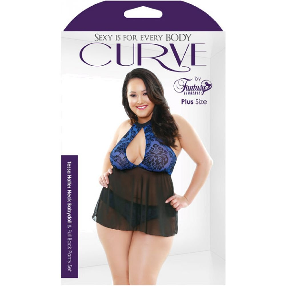 Curve Tessa Halter Neck Babydoll and Full Back Panty Plus Size 1X/2X Sapphire - View #3