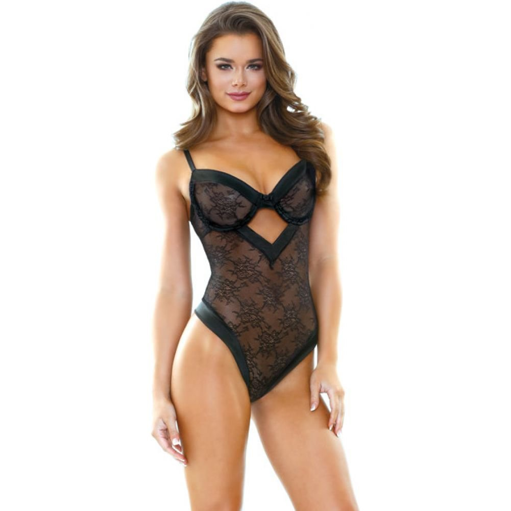 Tease Tori Lace Teddy with Satin Trim Medium/Large Black - View #1
