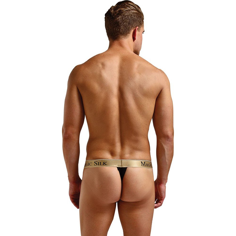 Magic Silk Micro Thong for Men Large Black/ Gold - View #4