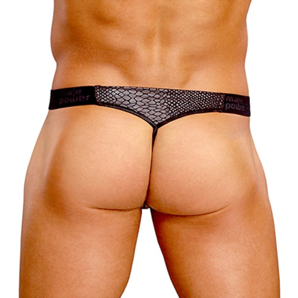 Male Power Cobra V String Thong Large/XL Black and Grey - View #2