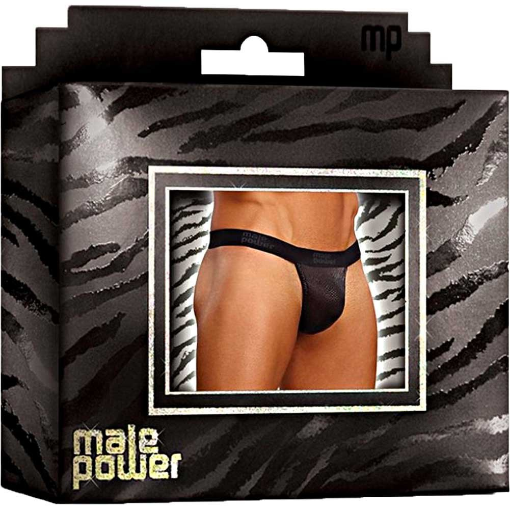 Male Power Cobra V String Thong Large/XL Black and Grey - View #4