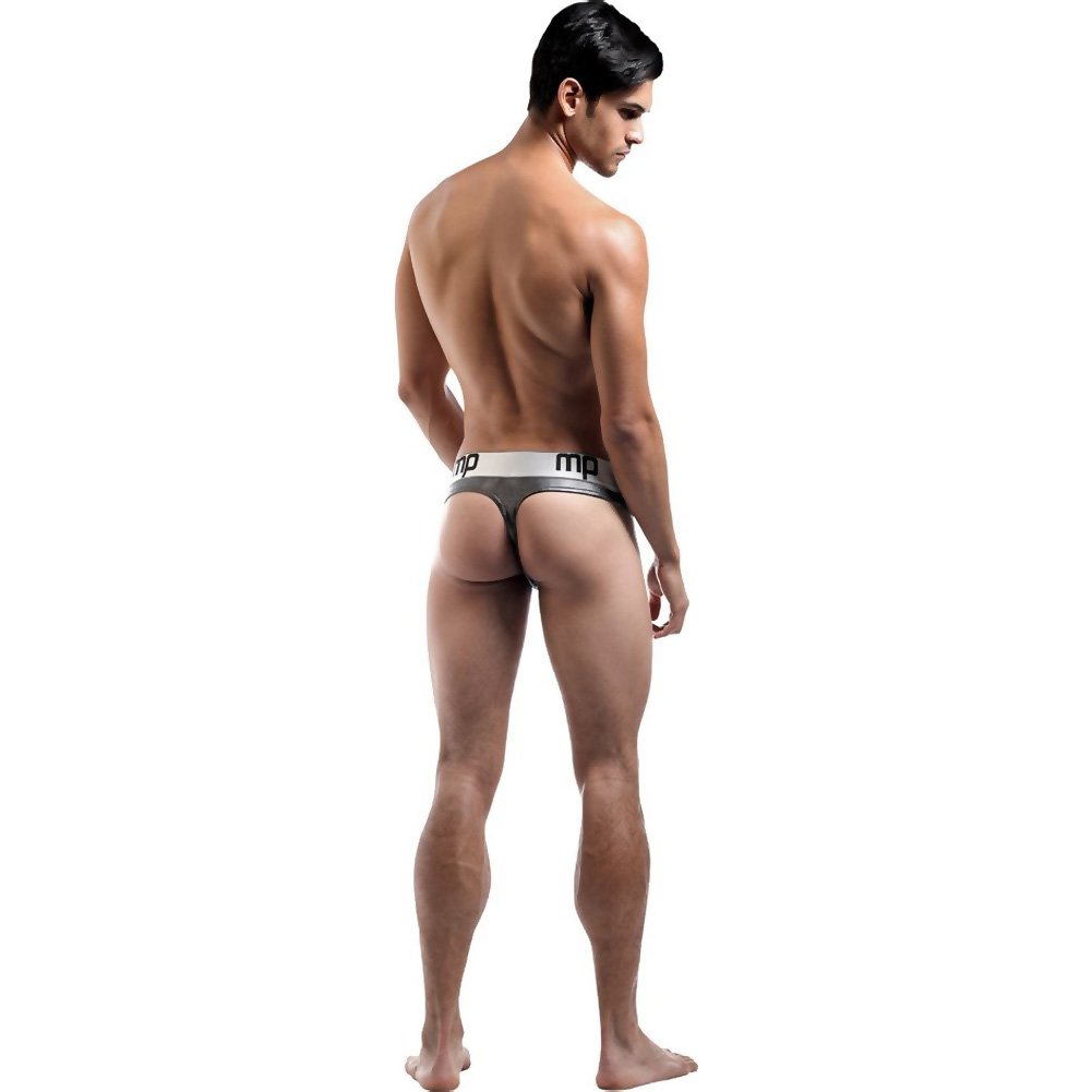 Male Power Molten Steel Lace Up Thong Small/ Medium Silver - View #4