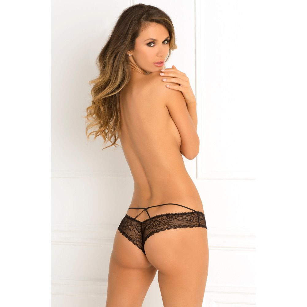 Rene Rofe Forbidden Lust Crotchless Thong Medium/ Large Black - View #3