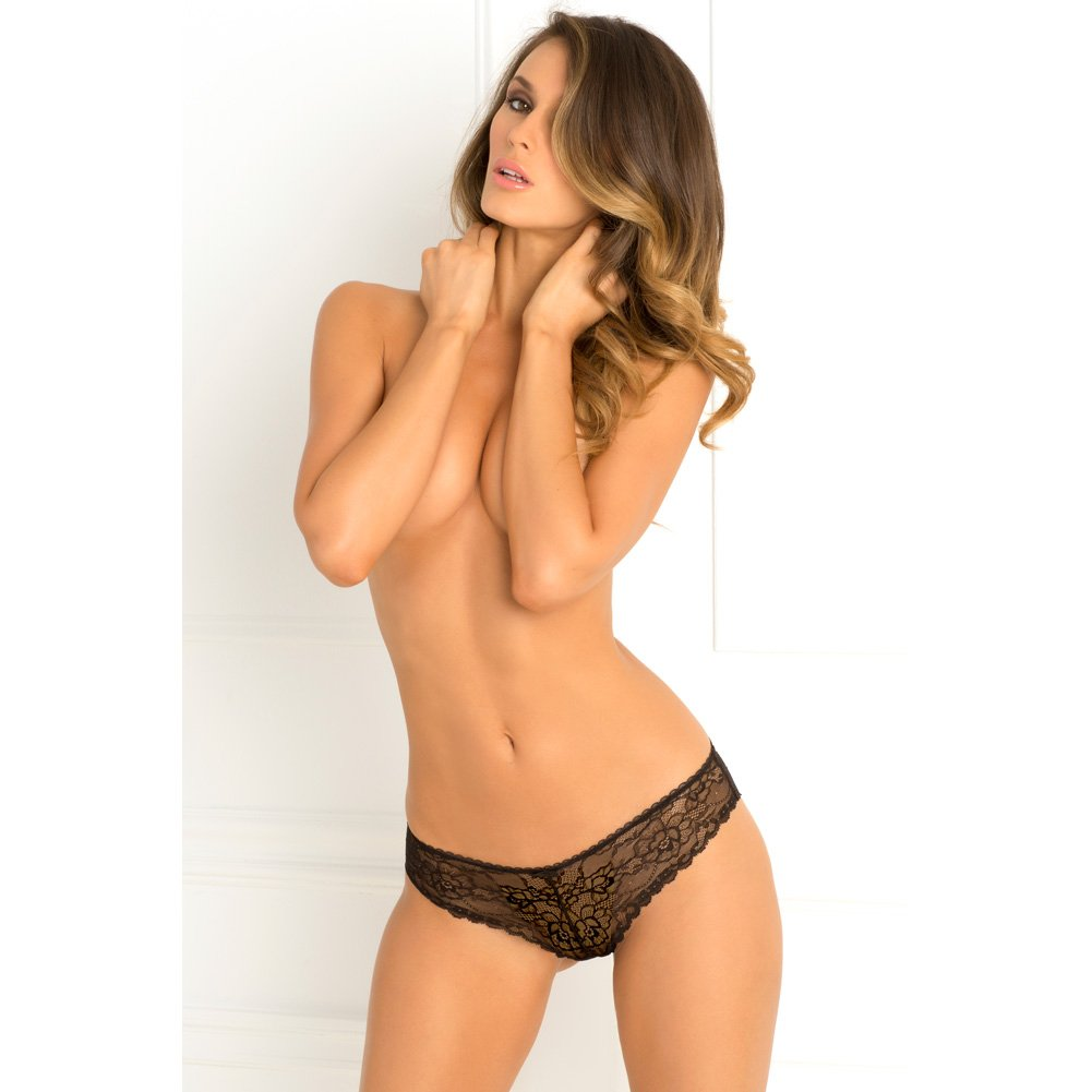 Rene Rofe Forbidden Lust Crotchless Thong Small/Medium Black - View #4