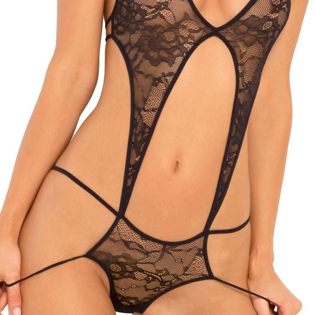 Rene Rofe Stage Door Lace Teddy Medium/ Large Black - View #3