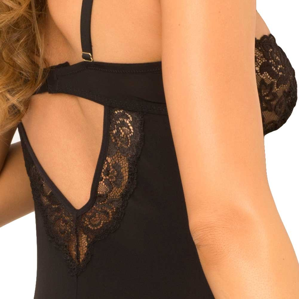 Rene Rofe Rough Romance Gartered Chemise and G-String Set Medium/ Large Black - View #4