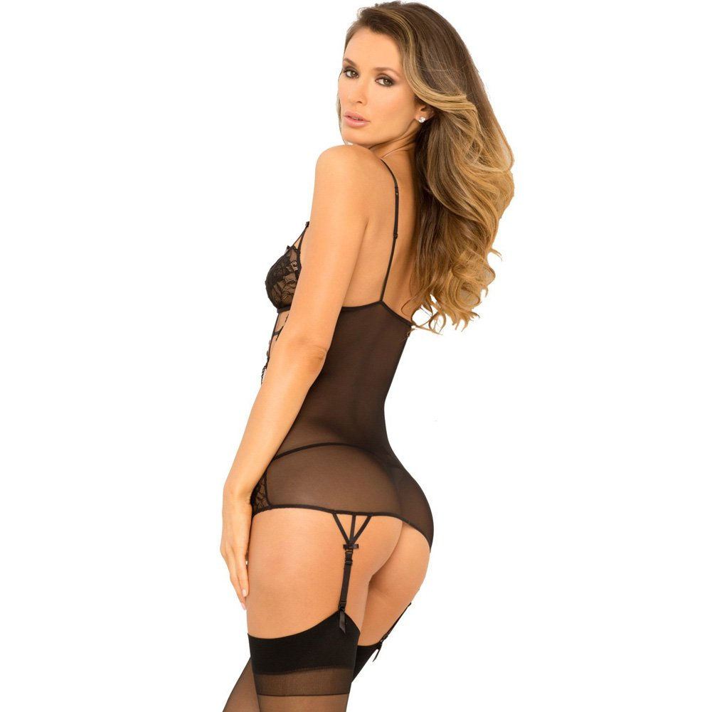 Rene Rofe Caged and Gartered Chemise and G-String Set Medium/ Large Black - View #2