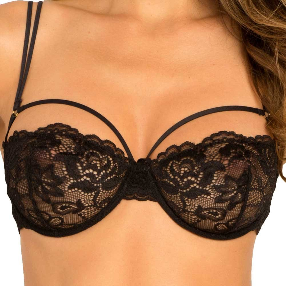 Rene Rofe Rough Romance Lace Bra and Thong Set Medium/ Large Black - View #3