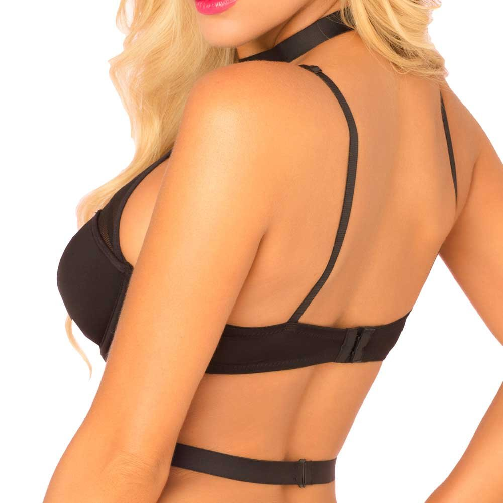 Rene Rofe Pink Lipstick Hardcore Harness Bra and G-String Set Small/ Medium Black - View #4