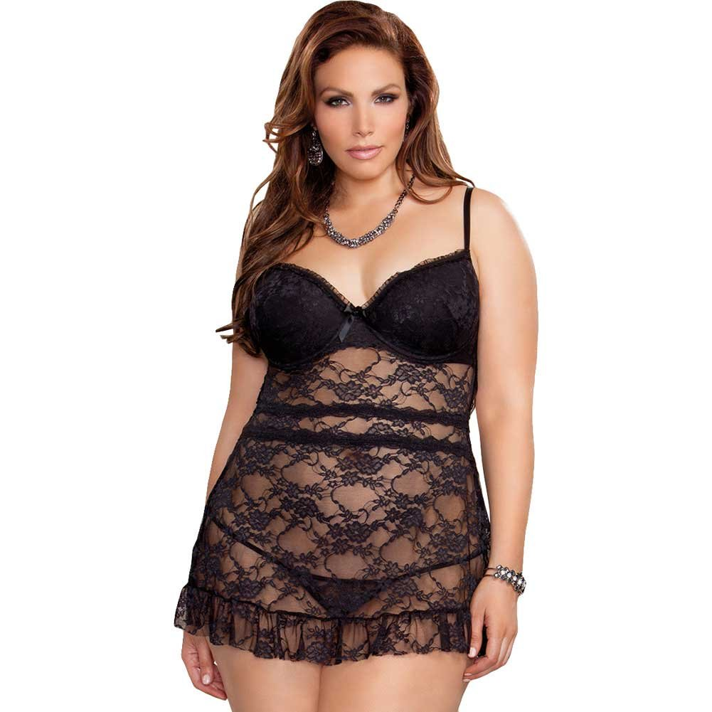 iCollection Stretch Lace Babydoll with Fly Away Back and G-String 3X Plus Size Black - View #1