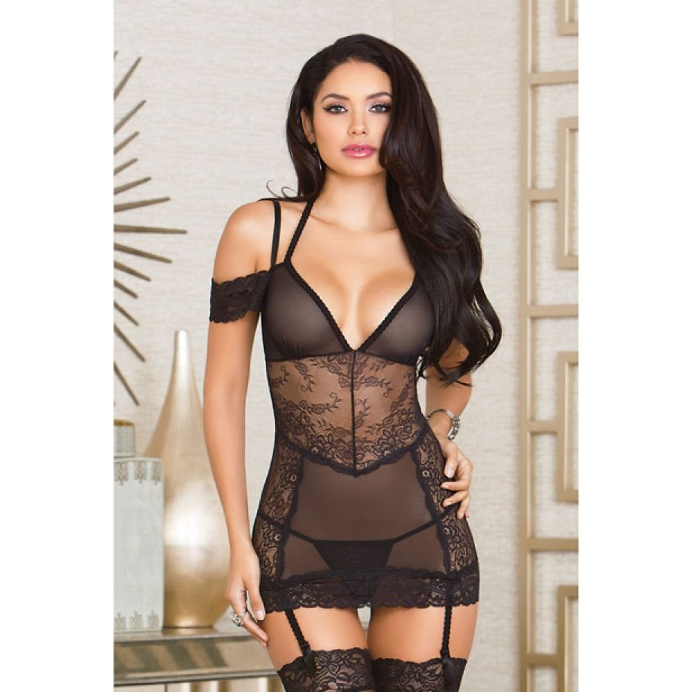 iCollection Mesh and Lace Gartered Off-Shoulder Halter Chemise and G-String Medium Black - View #3