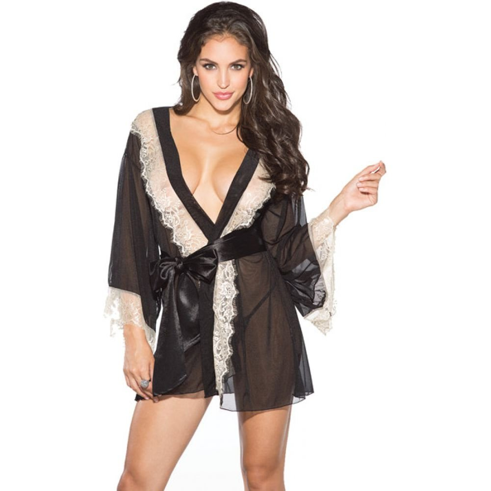 Shirley of Hollywood Mesh and Lace Robe with G-String XL Black/ Ivory - View #2