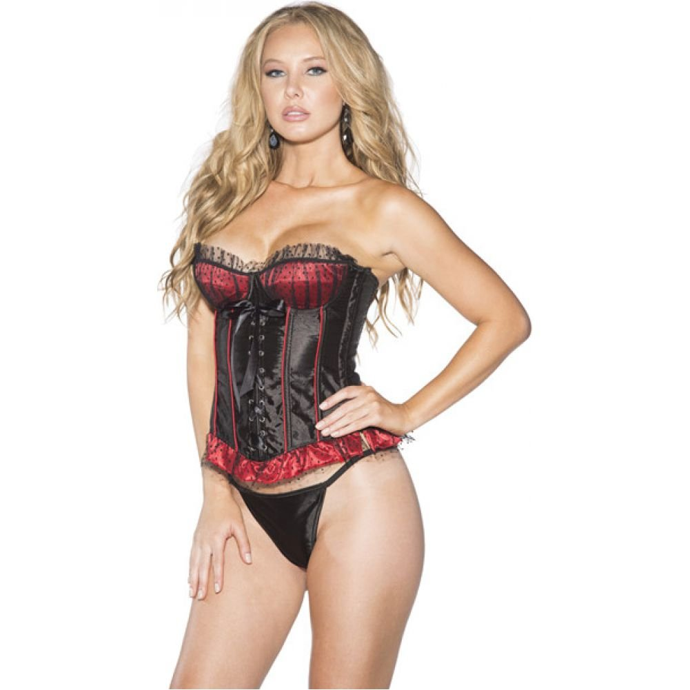 Shirley of Hollywood Polka Dot and Striped Corset with G-String Medium Red/ Black - View #1