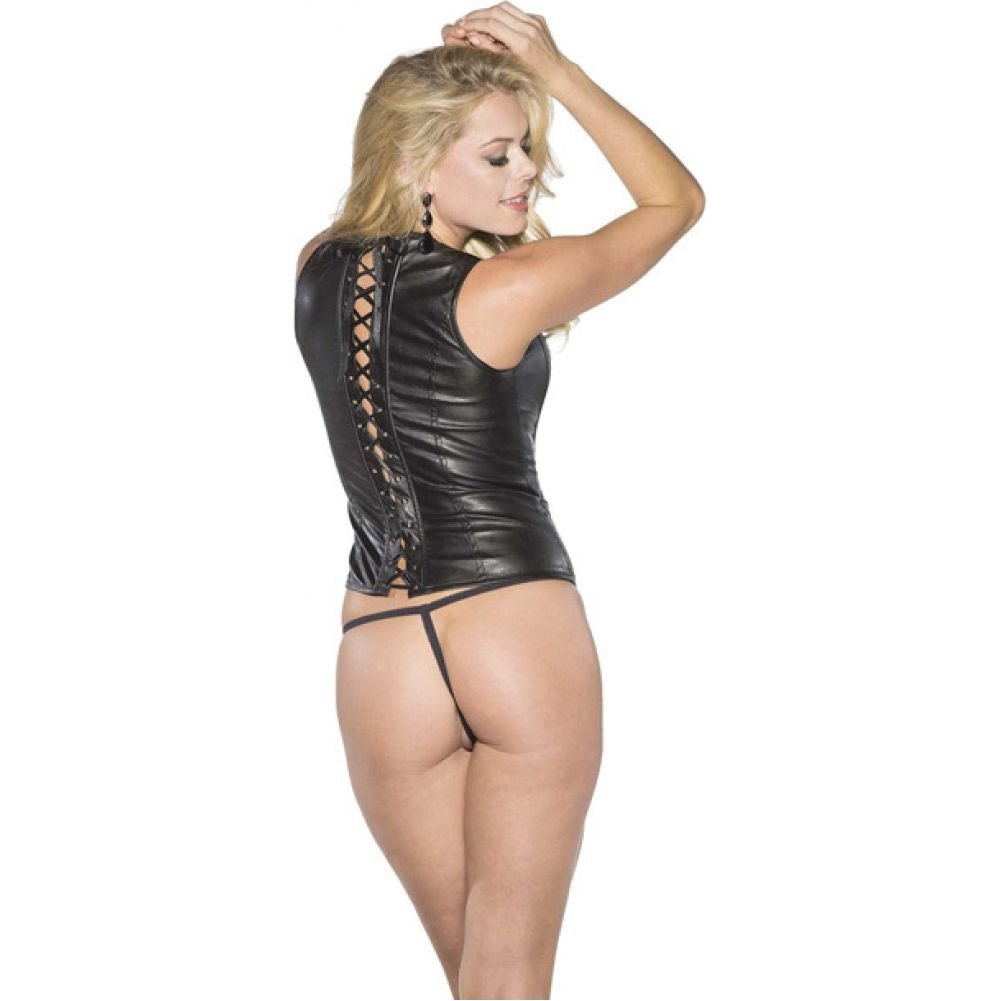 Shirley of Hollywood Faux Leather Corset with Lace Up Back Medium Black - View #2