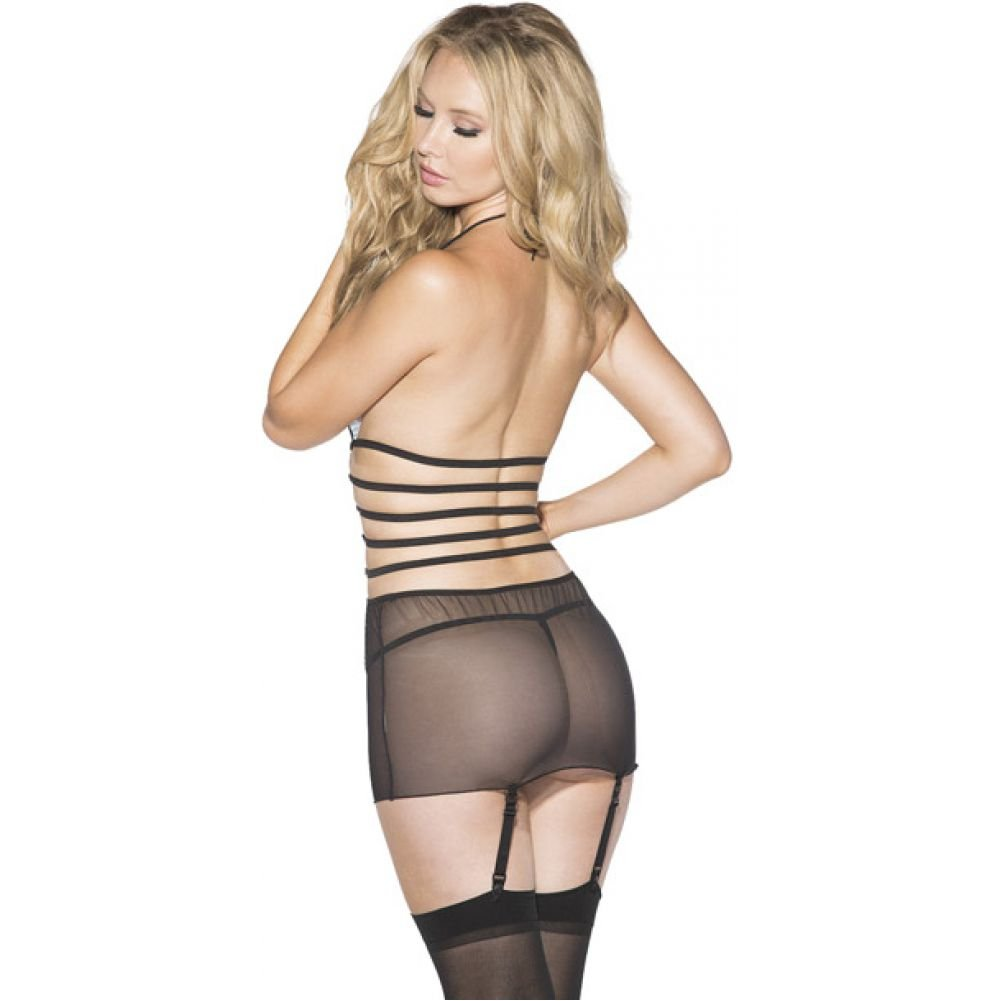 Shirley of Hollywood Mesh and Net Gartered Babydoll with Hose and G-String Small Black - View #2