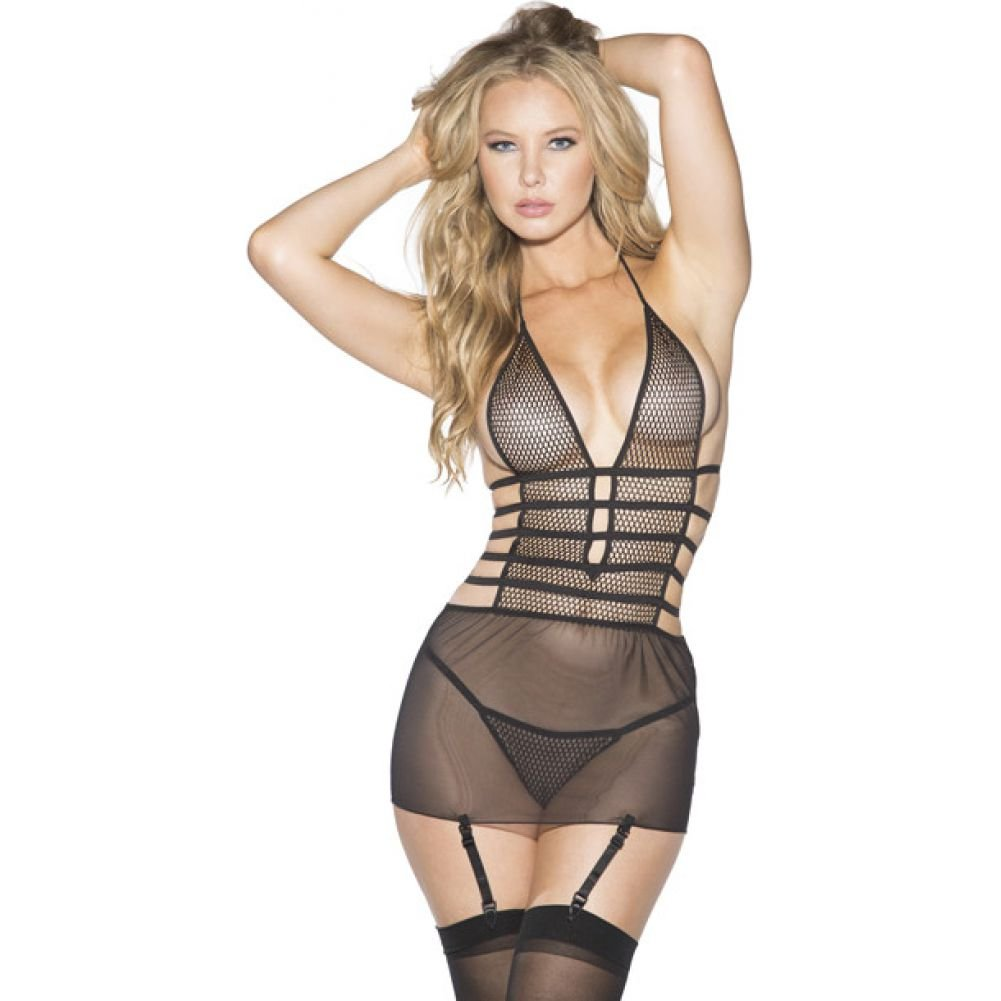 Shirley of Hollywood Mesh and Net Gartered Babydoll with Hose and G-String Medium Black - View #1