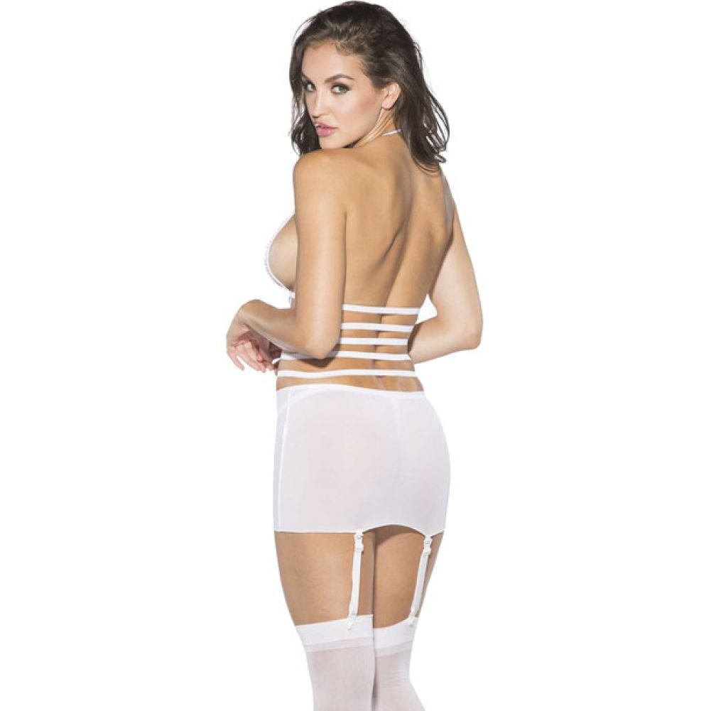 Shirley of Hollywood Mesh and Net Gartered Babydoll with Hose and G-String XL White - View #2