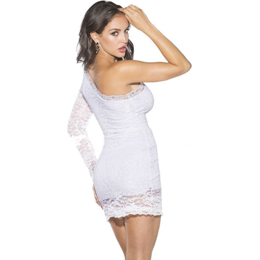 Shirley of Hollywood One Shoulder Lace Dress 2X Plus White - View #2