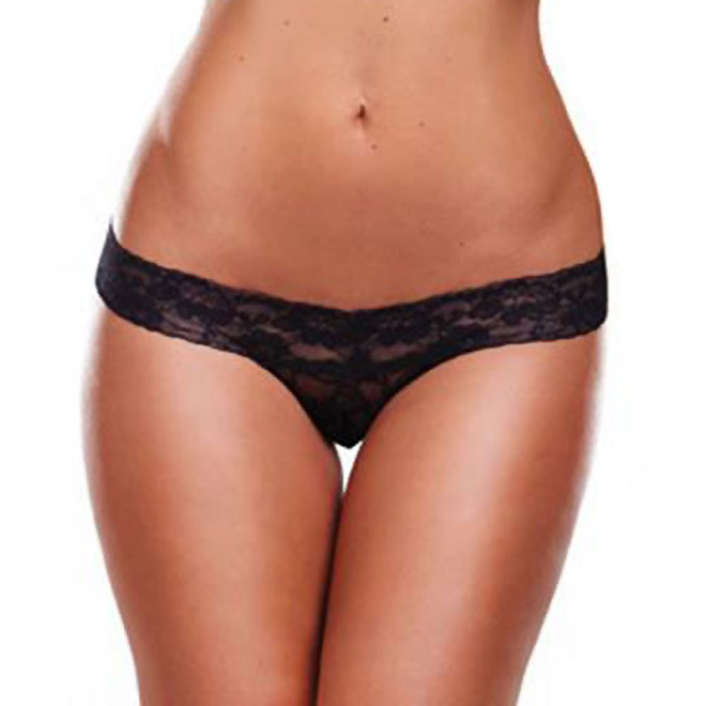 Lapdance Lingerie Secrets Vibrating Lace Thong with Remote One Size Fits Most Black - View #2