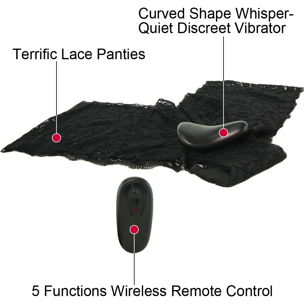 Lapdance Lingerie Secrets Vibrating Lace Boyshort with Remote One Size Black - View #1