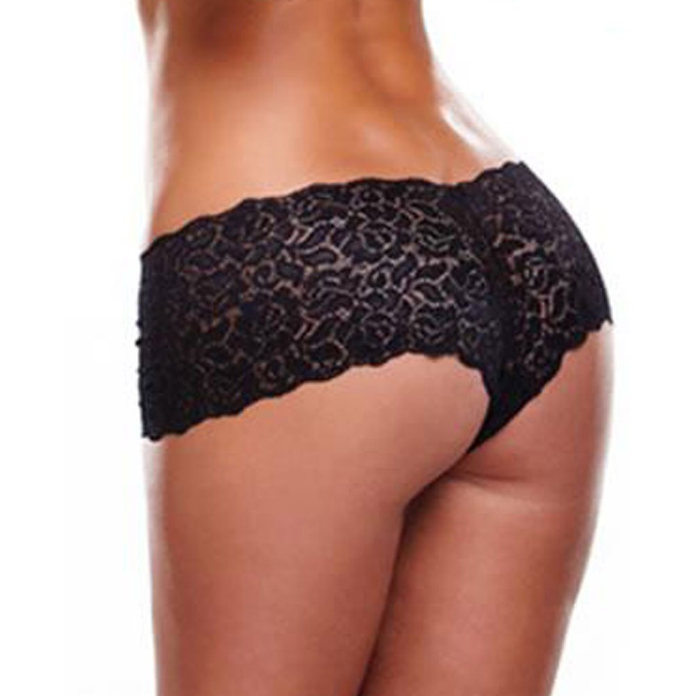 Lapdance Lingerie Secrets Vibrating Lace Boyshort with Remote One Size Black - View #3