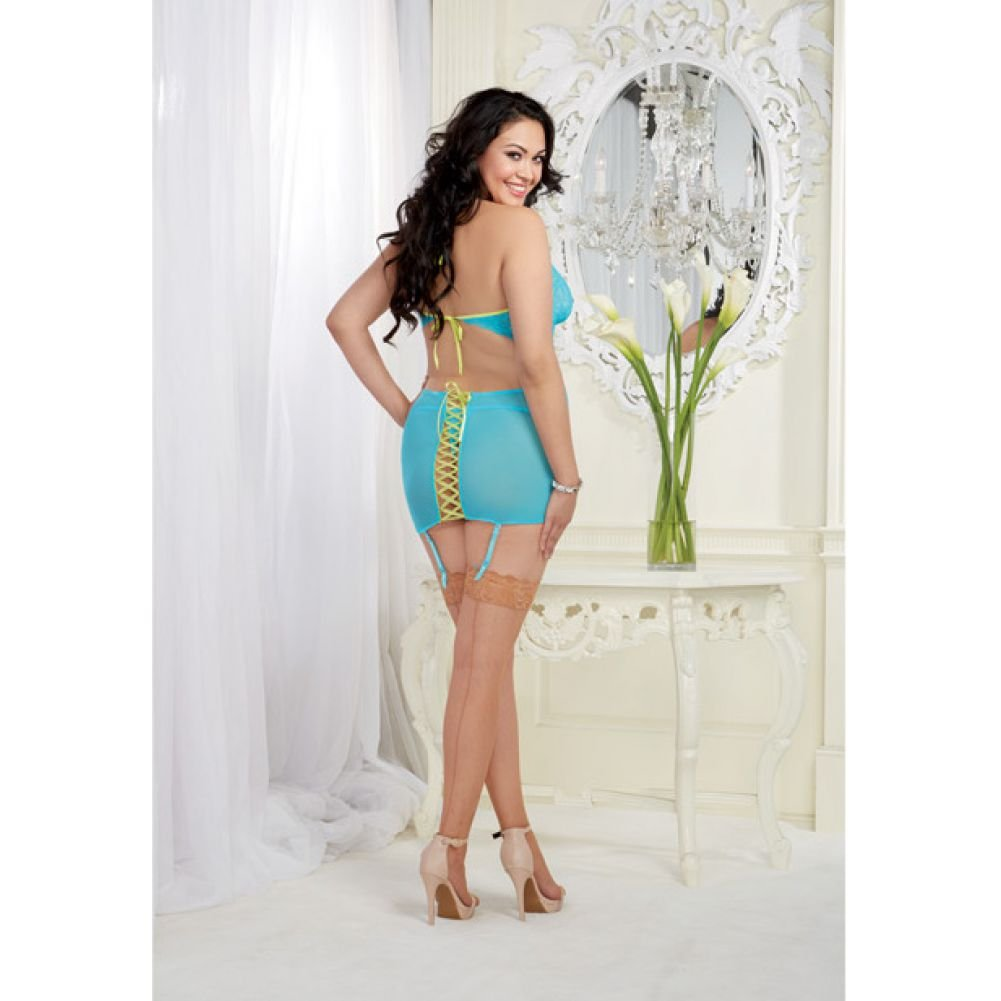 Stretch Mesh Garter Slip with Back Ribbon Lace Up and Thong Queen Size Turquoise - View #4