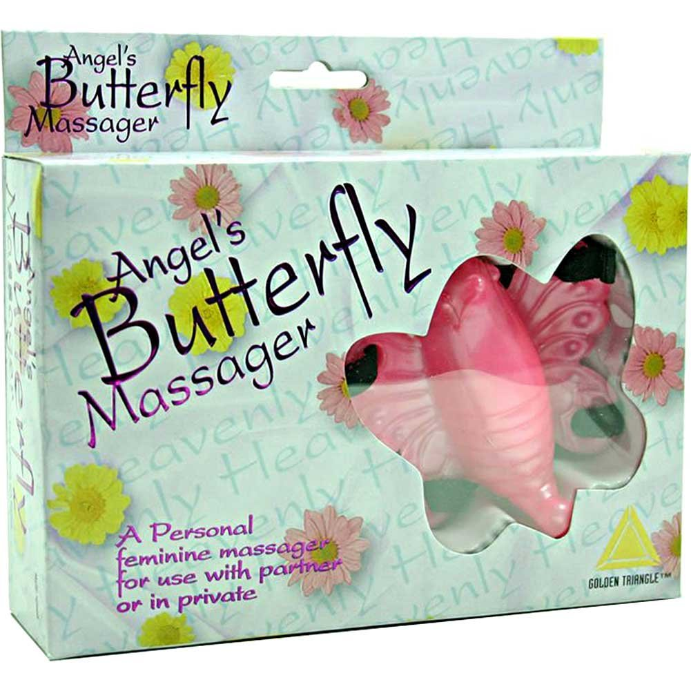 Golden Triangle Angels Butterfly Massager Jelly Clitoral Stimulator Pink - View #1