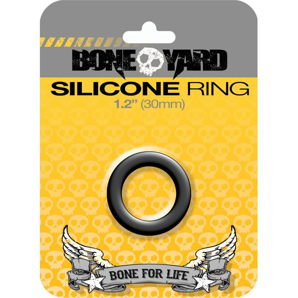 "Rascal Bone Yard Silicone Cockring Black 1.2"" Diameter - View #1"
