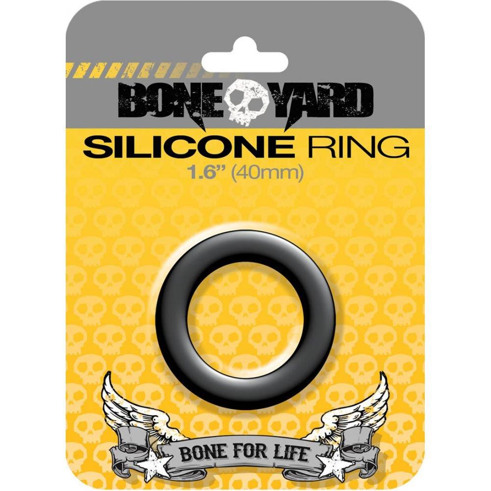 "Rascal Bone Yard Silicone Cockring Black 1.6"" Diameter - View #1"